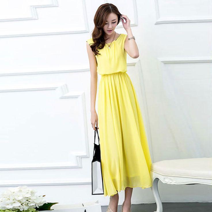 2016 лето новой корейской версии женщин большого размера летний длинный участок длинной юбке без рукавов шифон платье строп женщина -tmall.com Lynx