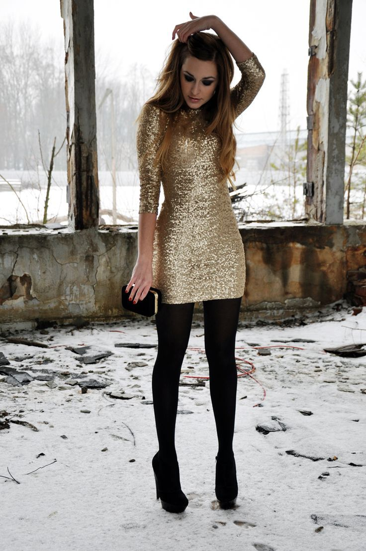Make a gold bodycon dress your outfit choice and you'll look like a total babe. A cool pair of black suede pumps is an easy way to upgrade your look.  Shop this look for $204:  http://lookastic.com/women/looks/black-pumps-black-tights-black-clutch-gold-bodycon-dress/5485  — Black Suede Pumps  — Black Wool Tights  — Black Suede Clutch  — Gold Bodycon Dress