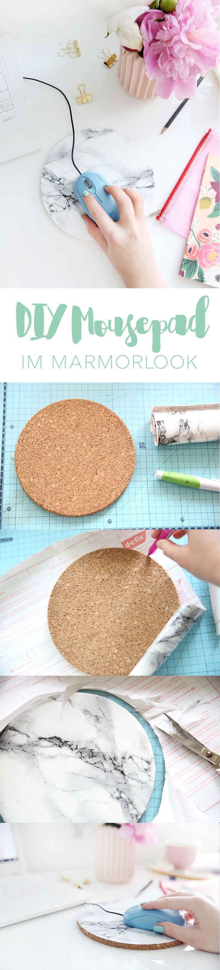 Kreative DIY-Idee zum Selbermachen: Mousepad schnell und einfach selber machen aus Kork und Marmor-Folie