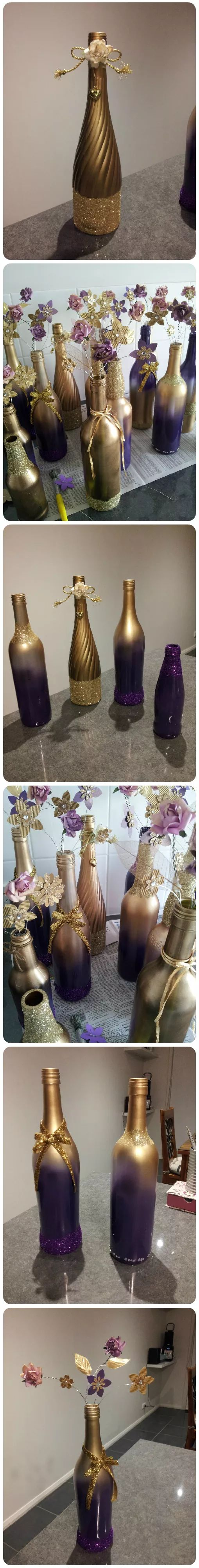 I washed used wine and the occasional beer bottle. Spray painted them,  added glitter and decorations. I made the flowers by hand and attached ...