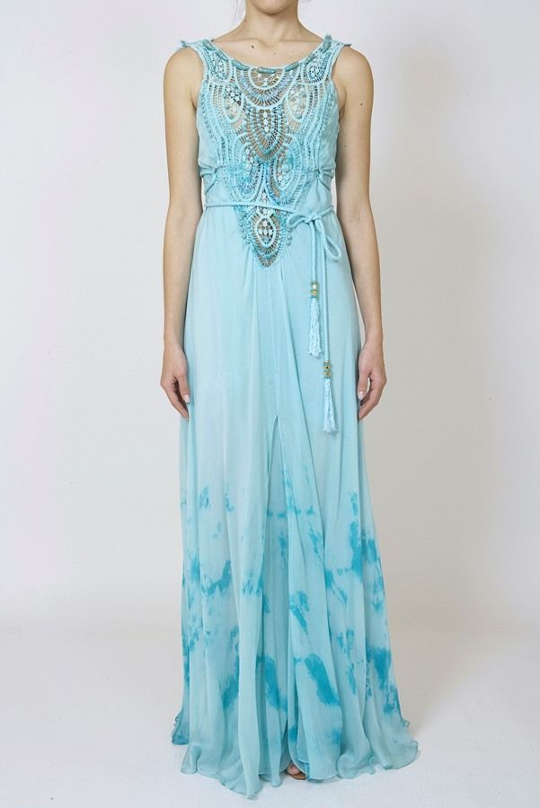 DRESSES : LONG SILK MUSLIN TYE-DYE DRESS WITH EMBROIDERED MOTIF