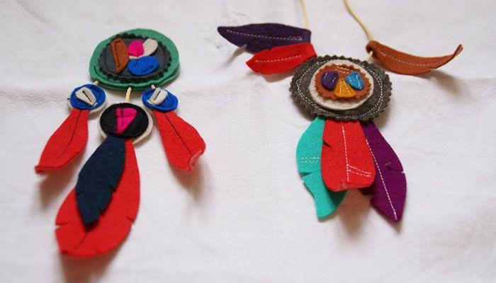 bijoux indiens en feutrine