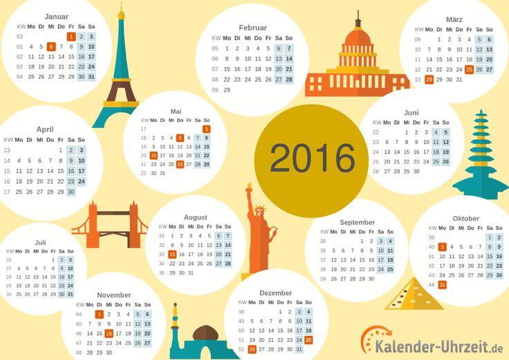 Kalender 2016 zum Ausdrucken - A4, PDF, Motiv: Weltenbummler #KalUhr http://www.kalender-uhrzeit.de/kalender-2016/ausdrucken