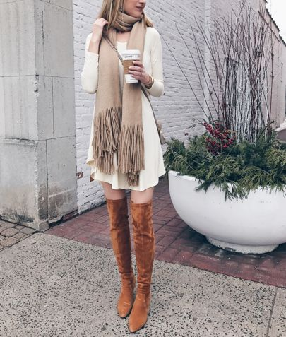 fall swing dress with over the knee suede boots http://rstyle.me/n/b6zb65b64n7
