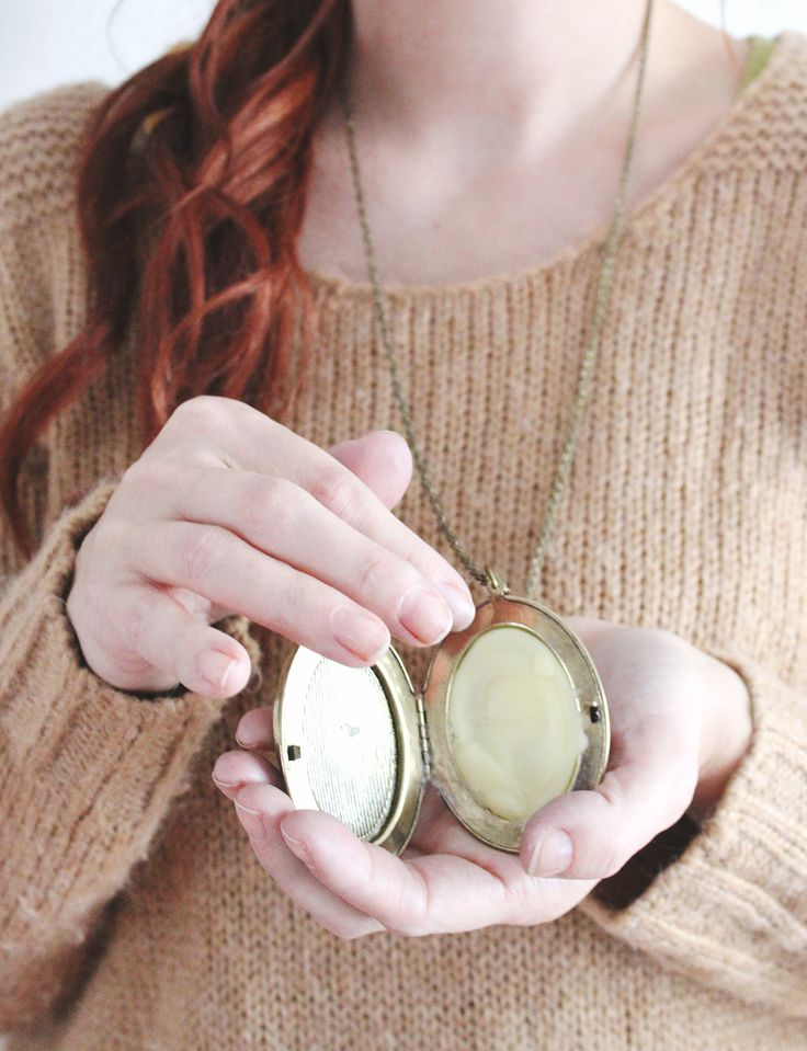 Love this gift idea- Make Your Own Solid Perfume, put it in a locket. Use beeswax, almond oil and essential oils.