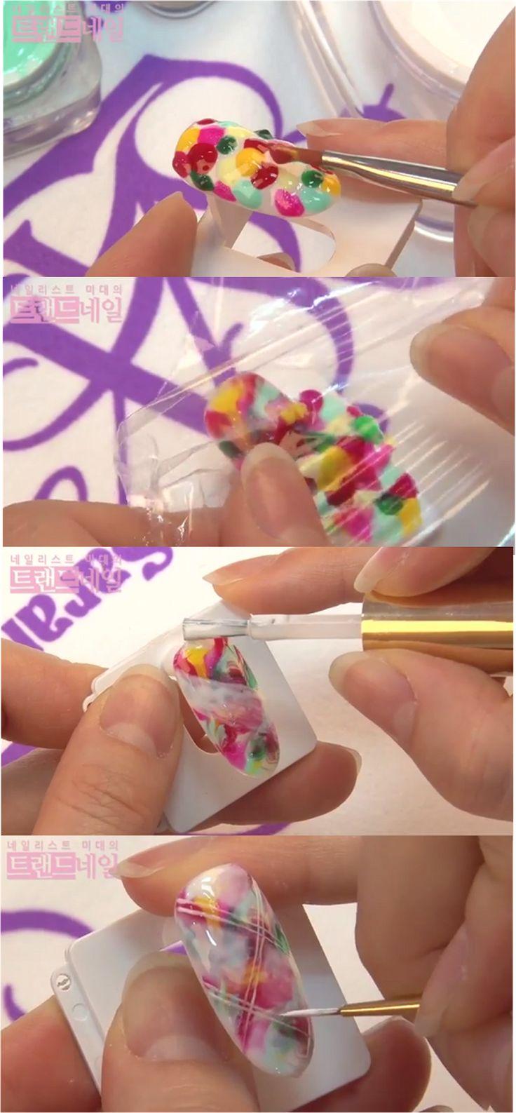 Sara Youtube Nail Art Class, Marbling Nail Art, White Plaid Check line Nail Art