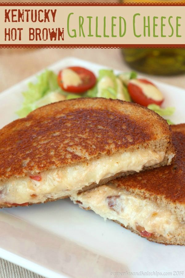 Kentucky Hot Brown Grilled Cheese Sandwich - the southern classic transformed into a traditional comfort food filled with turkey, bacon and tons of cheese! | cupcakesandkalechips.com