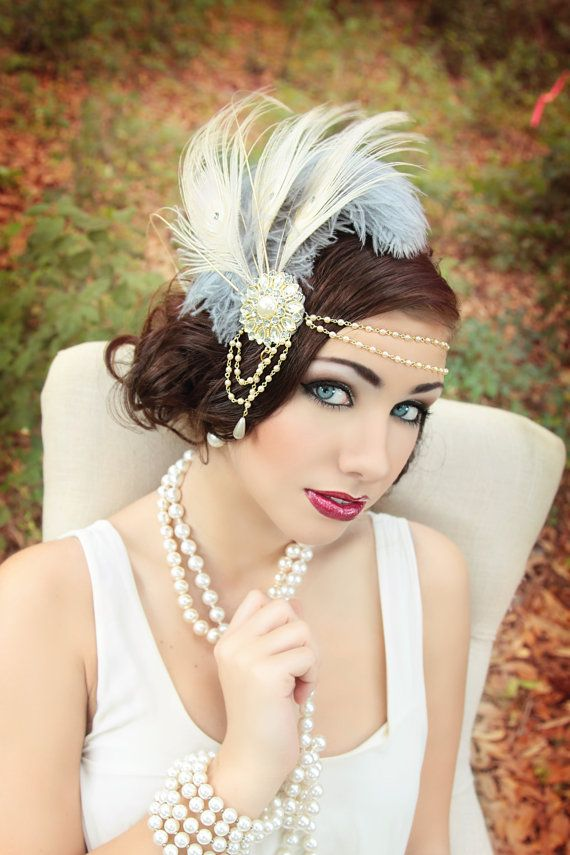 Soft Grey & Pearl Great Gatsby white peacock by TheHauteFeather