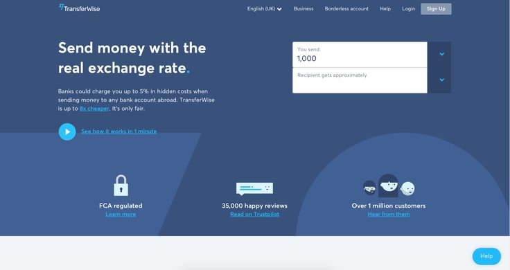Transferwise homepage top