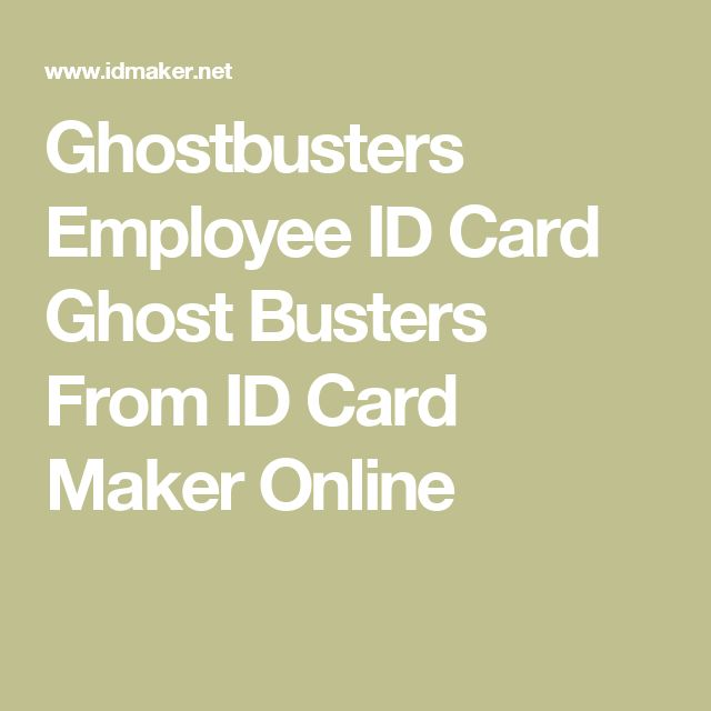 Ghostbusters Employee ID Card Ghost Busters From ID Card Maker Online