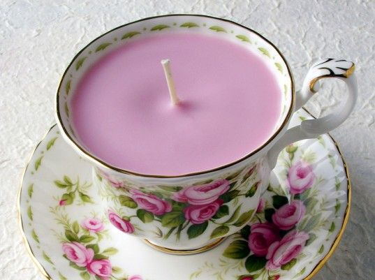 Vintage teacup candles...  Every thrift shop in the world seems to be packed full of lost, stand-alone teacups that don't match with any set, but are still amazingly beautiful and deserving of some love. Turning them into candles gives them a new life as pretty, inexpensive gift