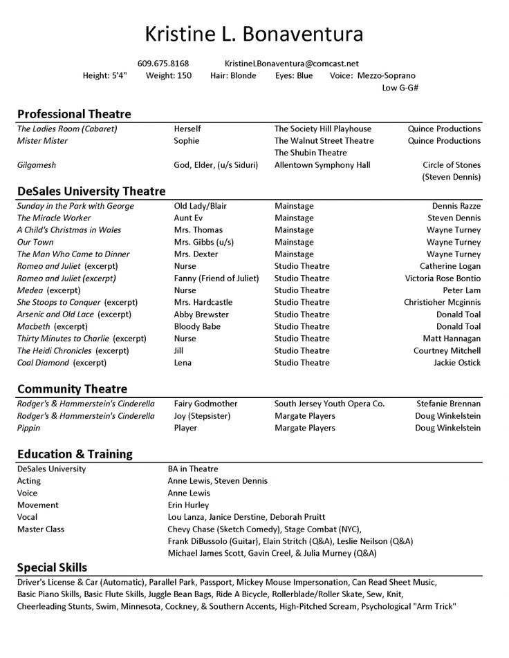 Examples Of Actors Resumes Theater Resume Template Theater Resume