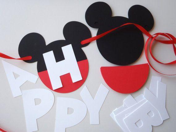 DIY Mickey Mouse Ears Happy Birthday Banner by FeistyFarmersWife, $13.00 #MickeyMouseParty #DisneyThemeParty #DIY Mickey Mouse Party Minnie Mouse also Available! https://www.etsy.com/shop/FeistyFarmersWife