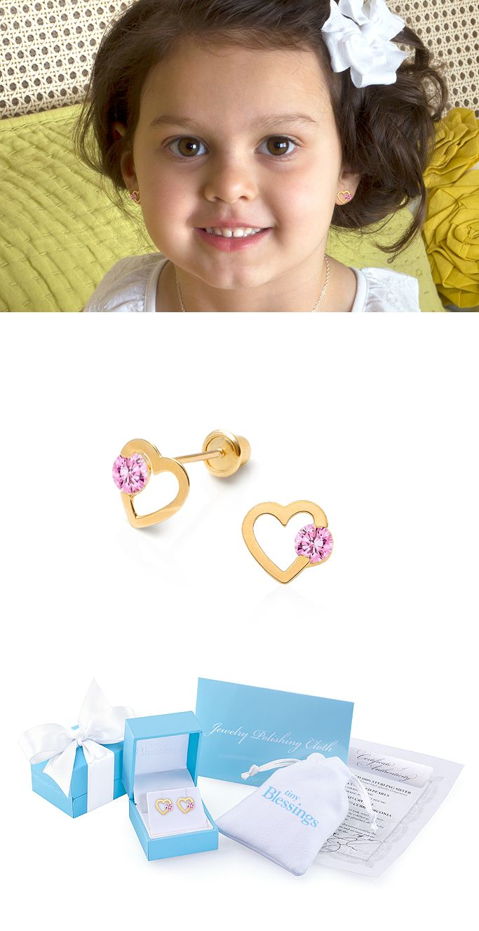 Solitaire Heart Children's Earrings in 14k Gold. Safety Screw Back Earrings Perfect for Kids of All Ages. A Must for Her Jewelry Box!