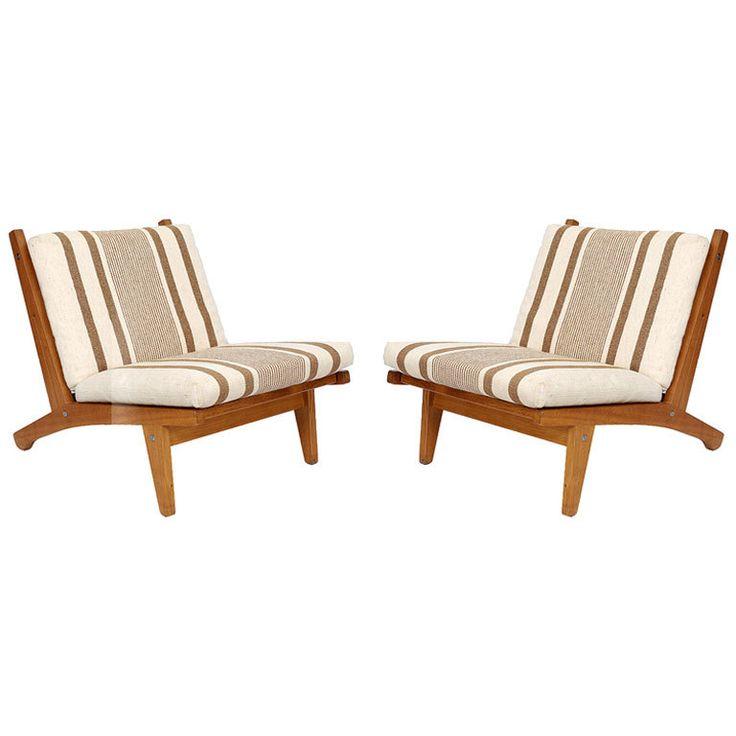 Pair of Hans Wegner GE 375  Lounge Chairs