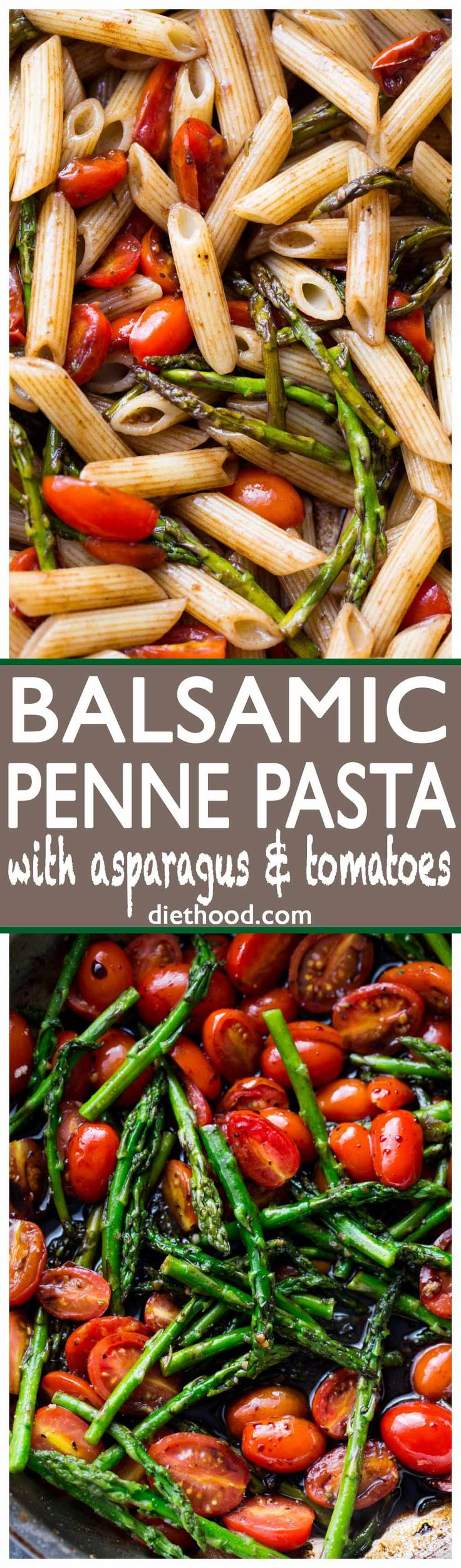 Balsamic Penne Pasta with Asparagus and Tomatoes - Quick, easy, and delicious pasta dish tossed with sweet tomatoes, asparagus, and an amazing balsamic sauce.