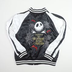Collectible Vintage Japanese Tim Burton The Night Before Christmas Disney Store Embroidered Embroidery Bomber Tattoo Art Sukajan Souvenir Jacket with Plushie Stuffed Toy Set - Japan Lover Me Store
