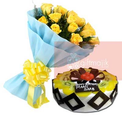 Send Online Yellow Roses Bunch of 25 flowers with half kg chocolate Fresh fruit cake