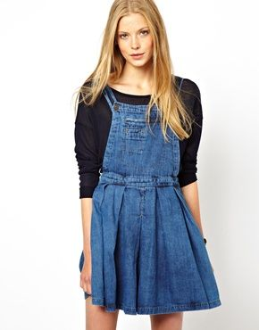ASOS Denim Pinafore Dress with Pleated Skirt in Vintage Wash