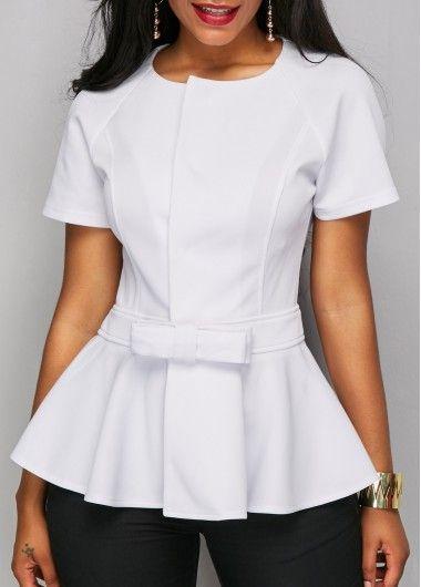 Peplum Waist Short Sleeve White Blouse on sale only US$31.11 now, buy cheap Peplum Waist Short Sleeve White Blouse at liligal.com