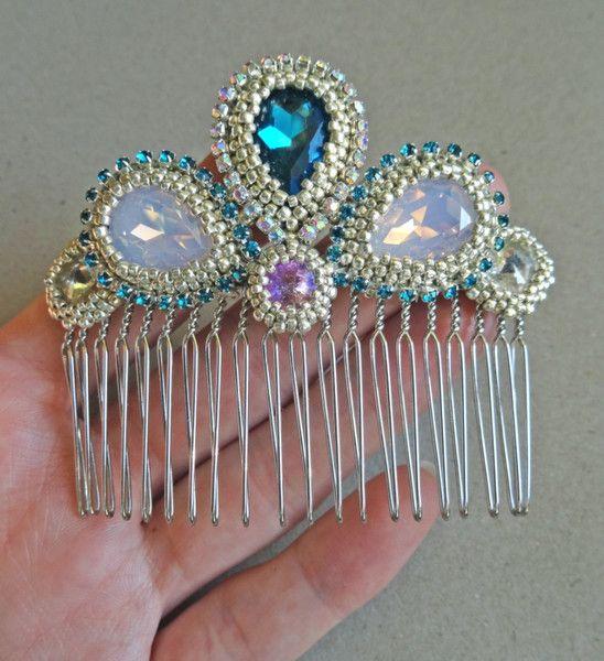 Royal 09 - grzebień ozdobny do włosów, ślubny (wedding hair comb, bridal hair comb) w VAKARAS Jewellery by Slomkad na DaWanda.com