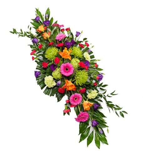 A vibrant double ended spray featuring orange Roses, pink Germini, purple Lisianthus with green Chrysanthemums and Carnations.