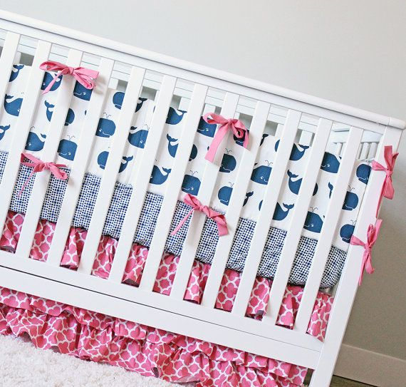 Girl Whale Crib Bedding Anchor Baby Bedding by GiggleSixBaby