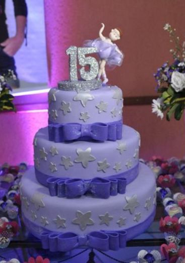 3 tier lavender round 15th birthday cake for girl with the number 15 and dancer on top.JPG