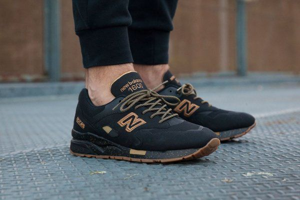 new balance 1600 black gum on feet