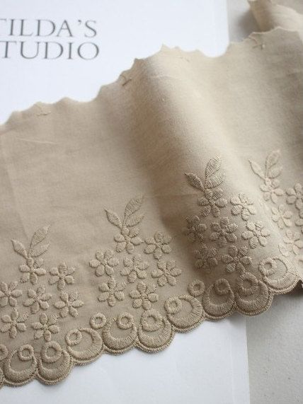 Beige wide embroidered cotton lace by the yard by cottonholic