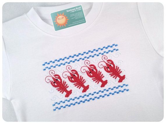 Boy's Lobster Shirt Faux Smocked with Embroidered by SunbeamRoad