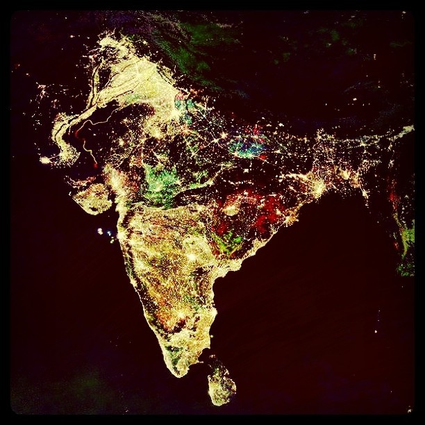 India during Diwali. The festival will fall on Tuesday 13th November this year,: Trav'Lin Lights, Satellite Image, Festivals, Nasa Photo, Beautiful, Diwali Night, India, Places, Outer Spaces