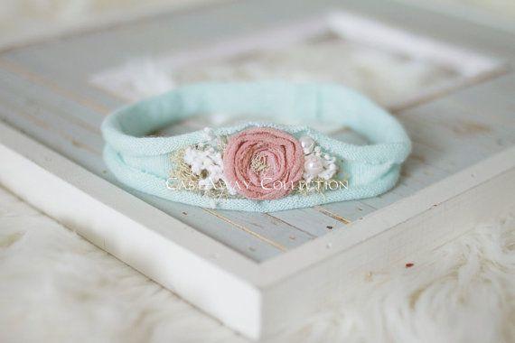 Newborn Photo Prop - Newborn Headband. Newborn Tieback. Newborn Halo. Newborn Crown. Organic Photography Props, Pink, Peach