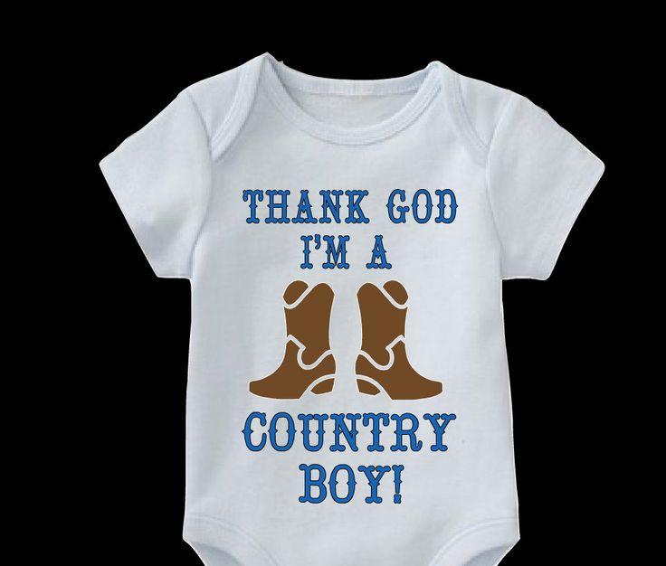 Thank God I'm A Country Boy Onesie-Country Boy Onesie-Baby Boy Onesies-Cowboy Boot Shirt-Country Boy Shirt by FromAtoZbyTami on Etsy