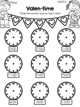 Valen-time >> Telling time to the hour >> Part of the Valentine's Day Kindergarten Math Worksheets
