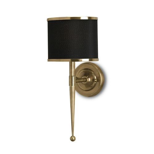 Sconce Wall Light with Black Shade in Brass Finish