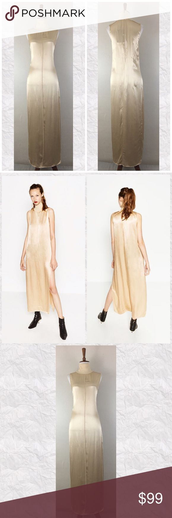 """Zara Gold High Neck Sateen Maxi Dress *Condition: NWT Faint smudge at hem line from being in the store (Photo 7) and a small flaw in netting (Photo 6) *Tag reads M but may run a bit small in my opinion  *High Neck  *Silhouette: Maxi  *Side slit  *Closure: Back zip  *Pockets: No  *Main Fabric: 100% Viscose  *Secondary Fabric: 100% Polyester  *Care: Machine wash according to instruction *Measurements are approx & taken lying flat *Bust: 36"""" *Slit: 26"""" *Shoulder to Hem: 53"""" *Stored in…"""