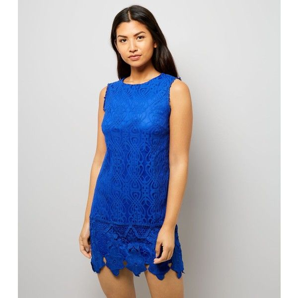 New Look Mela Blue Lace Embroidered Sleeveless Dress ($36) ❤ liked on Polyvore featuring dresses, blue, lacy dress, embroidery lace dress, blue party dress, going out dresses and new look dresses