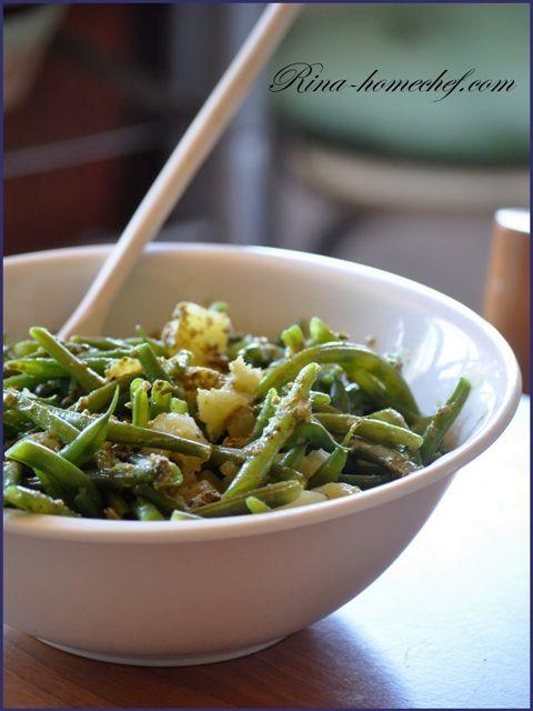 Салат из стручковой фасоли, картофеля и песто