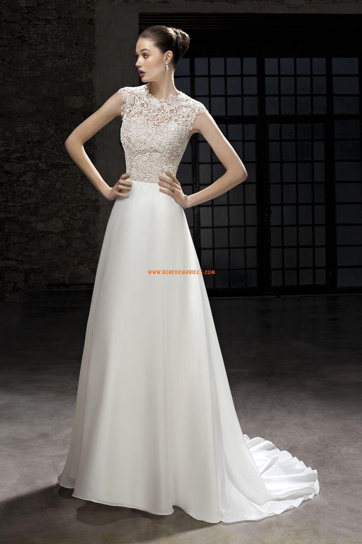 Robe de mariée satin sans manches traîne charment belle