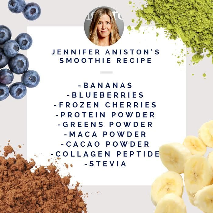 "Jennifer Aniston says this breakfast smoothie gives her a glow, with ""that working from the inside-out thing."""
