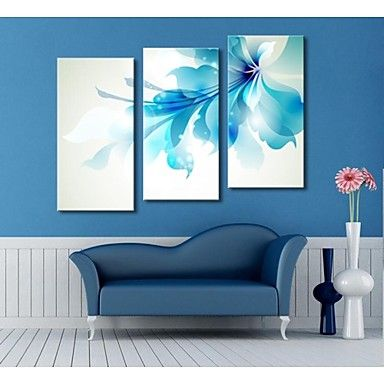 Customized Canvas Print  Stretched Canvas Art Blue flowers  30x 60cm   40x80cm  50x100cm Gallery Wrapped Art  Set of 3 - USD $ 64.99