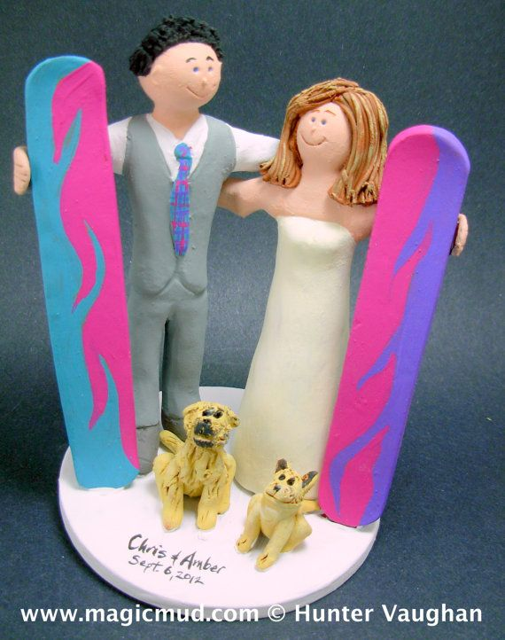 Snowboarding Wedding Cake Topper