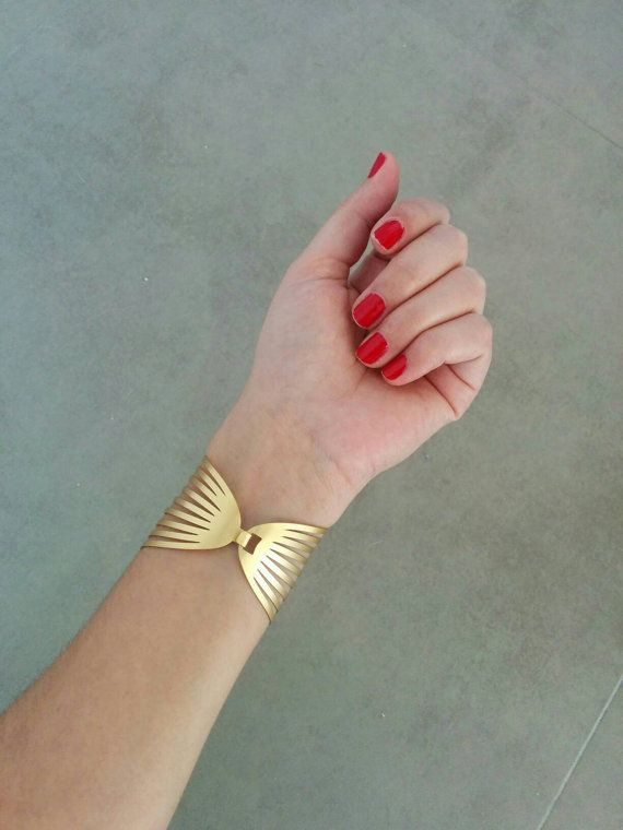Gold Cuff Bracelet, Gold Cuff, Gold Bracelet, Strips Braclete, Gold Bangle, Wedding Jewellery, Bridal Jewelry, Gift For Her, By Hila Assa Stunning iconic bracelet that will upgrade any look ! Unique Golden Strips Cuff Bracelet, Made of 24k gold plated brass base, matte finished