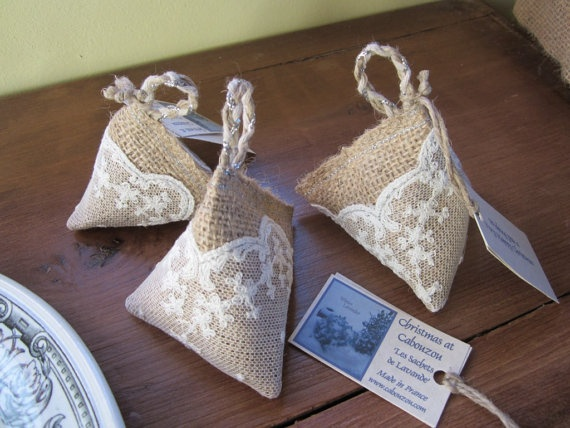 Pyramid Lavender bag/sachet in hessian & lace with by Cabouzou, €5.00