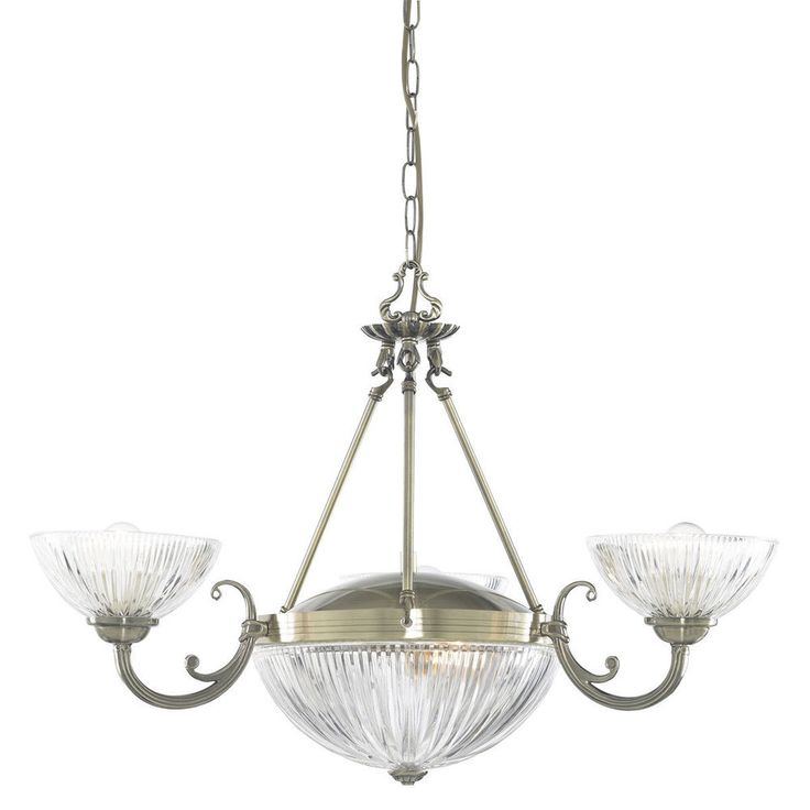 Searchlight 4775 5AB Windsor II 5 Light Ceiling Fitting Antique Brass Glass
