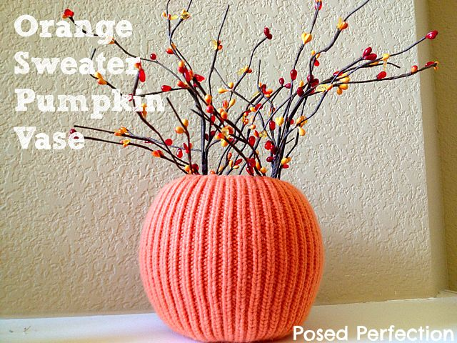 Orange Sweater Pumpkin Vase | Posed Perfection