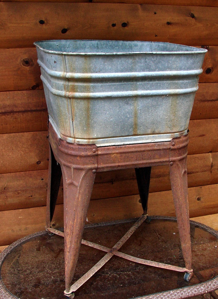 Superb Old Galvanized Wash Tub And Stand Straight