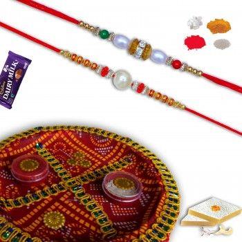 Traditional Rakshabandhan Shagun Thali with Set of 2 Rakhis @http://www.rakhistoreonline.com/