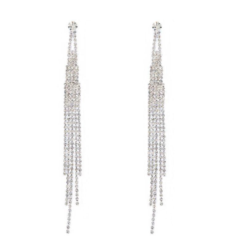 Dangly silver rhinestone earrings